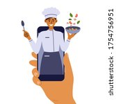 cooking classes on mobile phone.... | Shutterstock .eps vector #1754756951