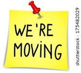 """""""we're moving"""" writen on a note ... 