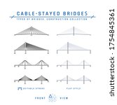 Cable-stayed bridges. Set of outline icons with editable stroke and flat items. Types of bridges collection. Vector illustration isolated on a white background.