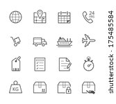 shipping and logistics icons | Shutterstock .eps vector #175485584