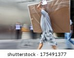 delivery goods with dolly by... | Shutterstock . vector #175491377