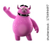3d monster  merry monster... | Shutterstock . vector #175494497