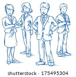 team of four business people ... | Shutterstock .eps vector #175495304