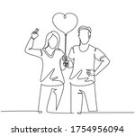 one single line drawing of... | Shutterstock .eps vector #1754956094