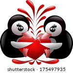 two penguins holding big red... | Shutterstock . vector #175497935