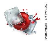 half cherry berry with ice... | Shutterstock .eps vector #1754993657
