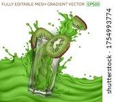 kiwi slices  transparent glass  ... | Shutterstock .eps vector #1754993774
