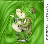kiwi and apple slices ... | Shutterstock .eps vector #1754993777