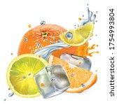 fresh orange and lemon with ice ... | Shutterstock .eps vector #1754993804