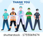 thank you to doctor  police ... | Shutterstock .eps vector #1755069674