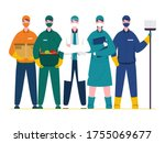 essential workers who work...   Shutterstock .eps vector #1755069677