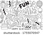 hand drawn party doodle happy... | Shutterstock .eps vector #1755070547