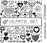 hand drawn set of hearts and... | Shutterstock .eps vector #175509689