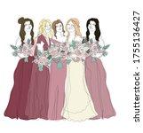 bridesmaids in gradient... | Shutterstock .eps vector #1755136427