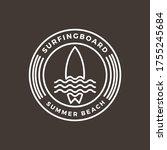 vintage surfing logo design... | Shutterstock .eps vector #1755245684