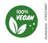 vegan icon set. organic logos... | Shutterstock .eps vector #1755274607