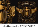 an egyptian scarab with wings... | Shutterstock .eps vector #1755377057