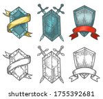 heraldic medieval hand drawn... | Shutterstock .eps vector #1755392681