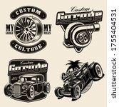 set of hot rod themed vector... | Shutterstock .eps vector #1755404531