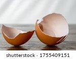 Broken Eggshell On Rustic...