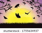 vector silhouette of flying... | Shutterstock .eps vector #1755634937
