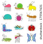 collection of funny colored... | Shutterstock . vector #175567631