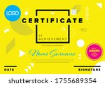 modern yellow certificate of... | Shutterstock .eps vector #1755689354