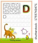 worksheet for tracing letters.... | Shutterstock .eps vector #1755743471