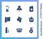 utensil icon set and gas...