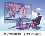 video conference landing....   Shutterstock .eps vector #1755791804