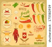 chilli spice, chili, isolated pepper vegetables, mexican food label design