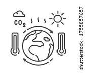 climate change black line icon. ...