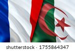 France and Algeria flags. 3D Waving flag design. France Algeria flag, picture, wallpaper. France vs Algeria image,3D rendering. France Algeria relations alliance and Trade,travel,tourism concept
