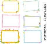 A collection of multi-colored children's frames for the design of albums, books, magazines, children's rooms. Vector