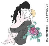 groom holding bride in his arms ...   Shutterstock .eps vector #1755940724