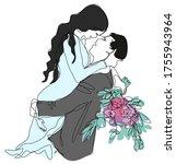wedding card design bride and...   Shutterstock .eps vector #1755943964