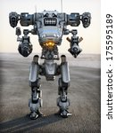 Robot Futuristic Mech weapon with full array of guns pointed - stock photo