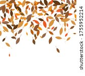 leaves. throw autumn leaves.... | Shutterstock .eps vector #1755952214
