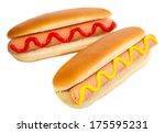 tasty hot dogs isolated on white | Shutterstock . vector #175595231