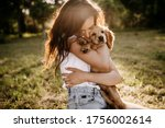 Young Brunette Woman Hugging...