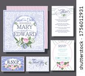 wedding invitations card with... | Shutterstock .eps vector #1756012931