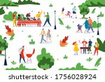 people bbq picnic at nature... | Shutterstock .eps vector #1756028924