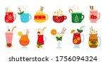 christmas hot drink set. flat...   Shutterstock .eps vector #1756094324