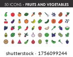 fruits and vegetables icon set... | Shutterstock .eps vector #1756099244