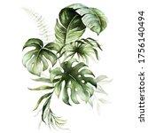 Watercolor Tropical Floral...