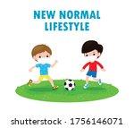 two little boy wearing face... | Shutterstock .eps vector #1756146071