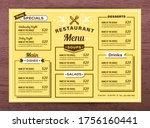 yellow restaurant menu template.... | Shutterstock .eps vector #1756160441