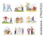 life active old people. elderly ...   Shutterstock .eps vector #1756219121