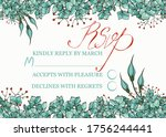 wedding rsvp card template with ... | Shutterstock .eps vector #1756244441