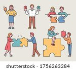 people have puzzle pieces of... | Shutterstock .eps vector #1756263284